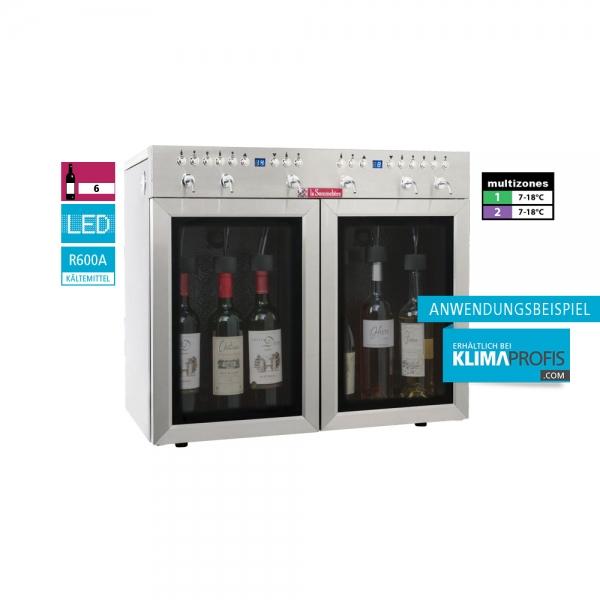 Weindispenser DVV6SS, 2 Temperaturzonen, 6 Flaschen, Edelstahl