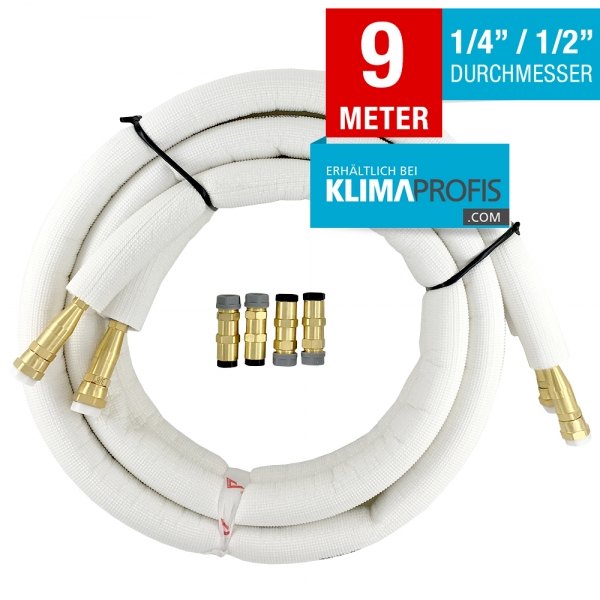 Kältemittelleitung mit Anschlussarmaturen, hochflexibel, 6/12mm, 9 Meter