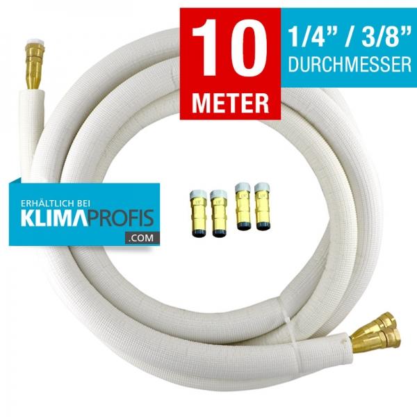 Kältemittelleitung mit selbstschließenden Anschlussarmaturen, halbflexibel, 6/10mm, 10 Meter