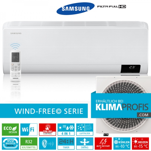 Samsung Wind-Free Comfort AR 24 R32 Eco Digital Inverter Wandklimageräte Set - 7,6 kW