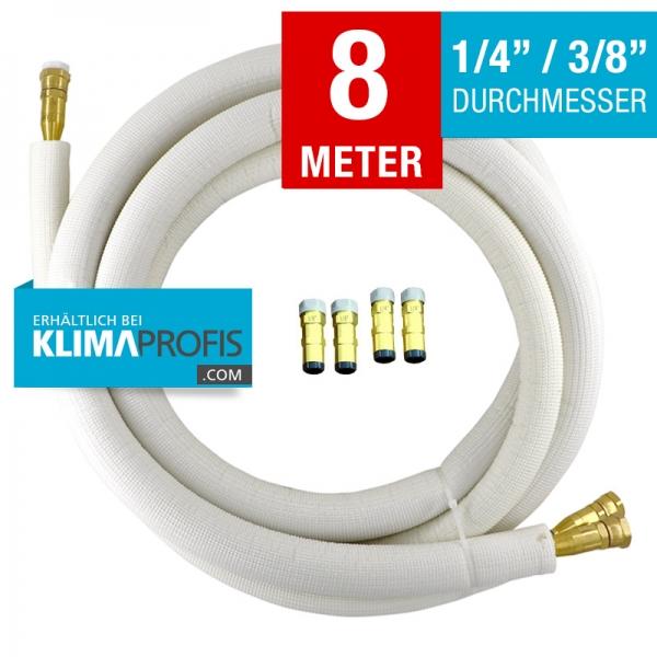 Kältemittelleitung mit selbstschließenden Anschlussarmaturen, halbflexibel, 6/10mm, 8 Meter