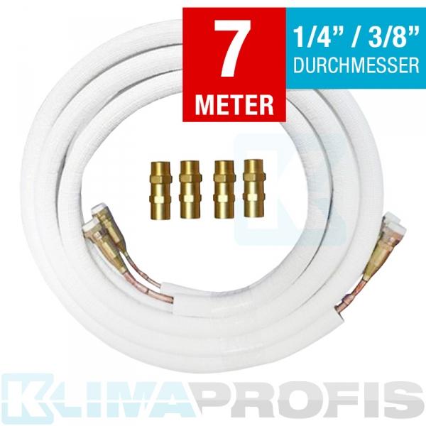 Kältemittelleitung mit Anschlussarmaturen, 6/10mm, 7 Meter