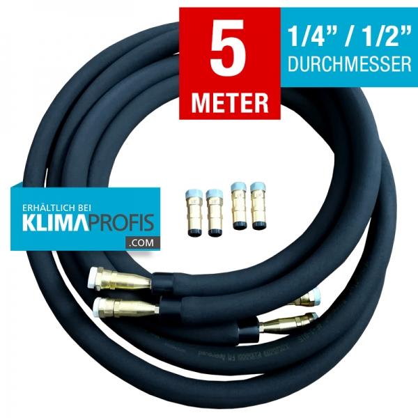 Kältemittelleitung mit Anschlussarmaturen, hochflexibel, 6/12mm, 5 Meter