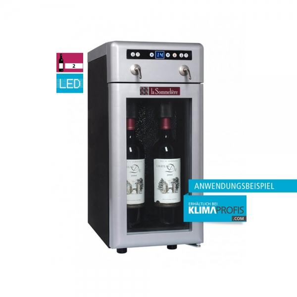 Weindispenser DVV22, 1 Temperaturzone, 2 Flaschen, Schwarz/ Silber