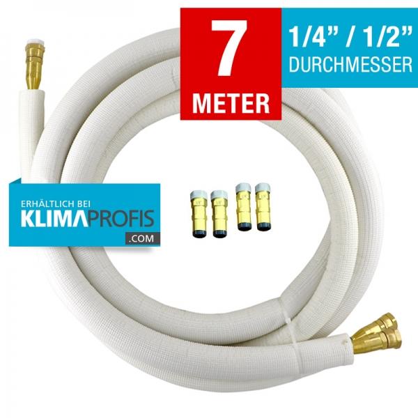 Kältemittelleitung mit selbstschließenden Anschlussarmaturen halbflexibel, 6/12mm, 7 Meter