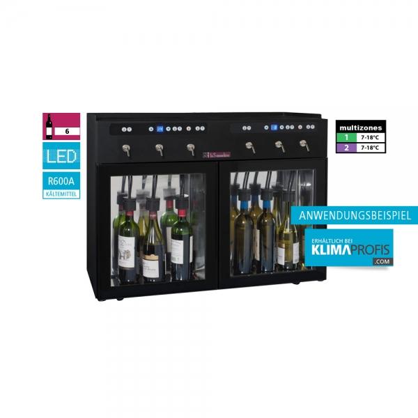 Weindispenser DVV6, 2 Temperaturzonen, 6 Flaschen, Schwarz