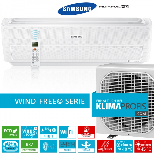 Samsung Wind-Free Optimum Wandklimageräte Set - AR 12 - 4 kW