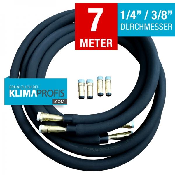 Kältemittelleitung mit Anschlussarmaturen, hochflexibel, 6/10mm, 7 Meter