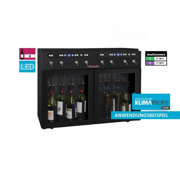 Weindispenser DVV8, 2 Temperaturzonen, 8 Flaschen, Schwarz