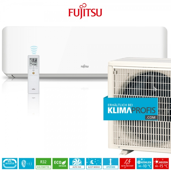 Fujitsu ASYG-07KMTB R32 Inverter Design Wandklimageräte Set - 3,0 kW