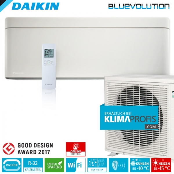 Daikin Stylish FTXA25A WiFi R32 Inverter Wand-Klimageräte-Set 2,5 kW