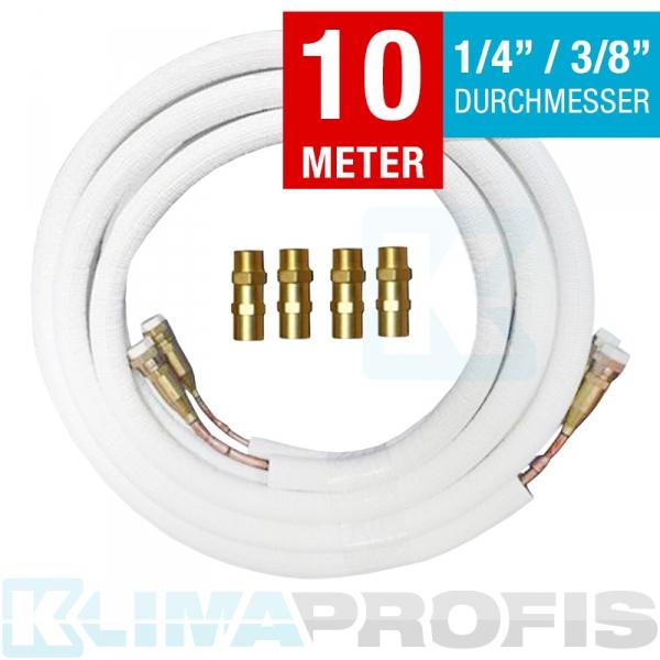 Kältemittelleitung mit Anschlussarmaturen, 6/10mm, 10 Meter