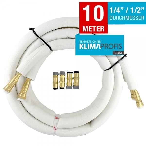 Kältemittelleitung mit Anschlussarmaturen, hochflexibel, 6/12mm, 10 Meter