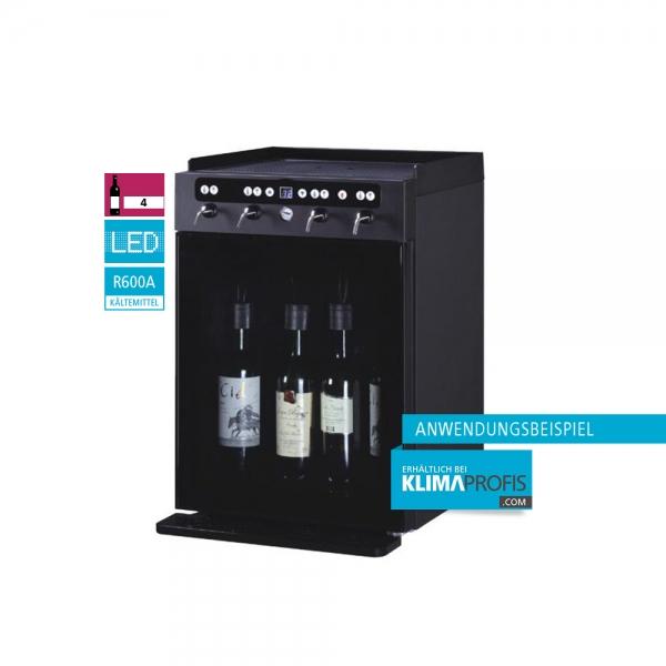 Weindispenser DVV4, 1 Temperaturzone, 4 Flaschen, Schwarz