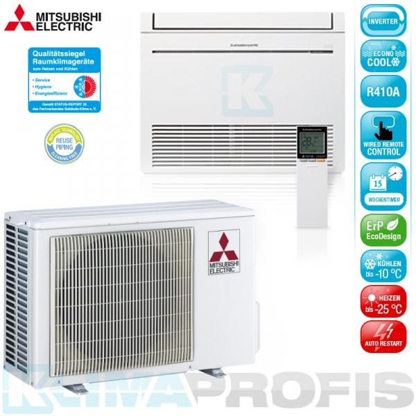 Mitsubishi MFZ-KJ25VEHZ Hyper Heating Inverter Truhenklimageräte Set - 3,4 kW