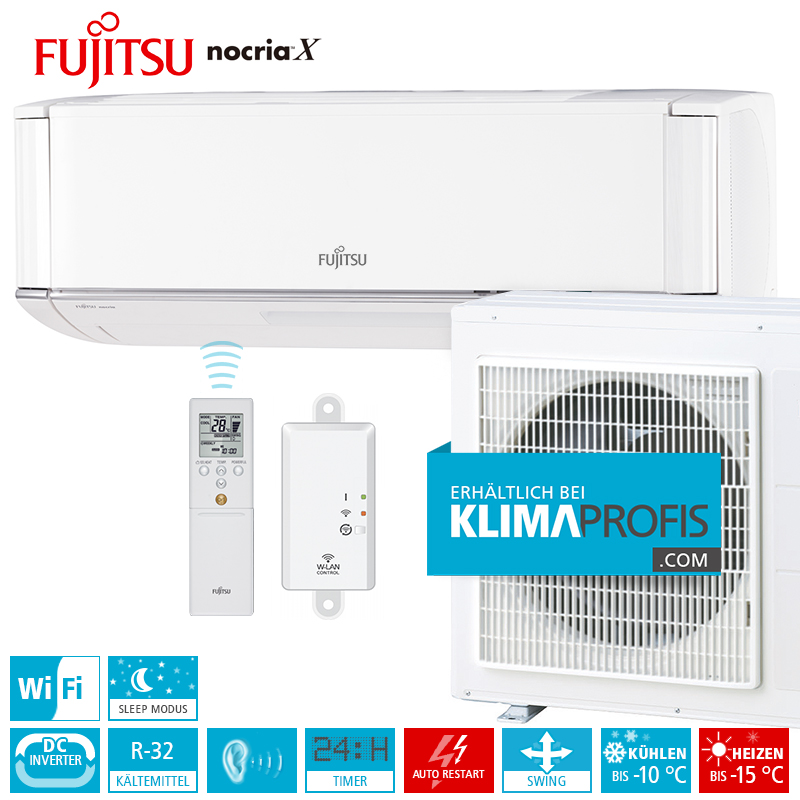 fujitsu klimaanlage zur wandmontage nocria x premium inverter set asyg09kxca 3 5 kw klimaprofis. Black Bedroom Furniture Sets. Home Design Ideas