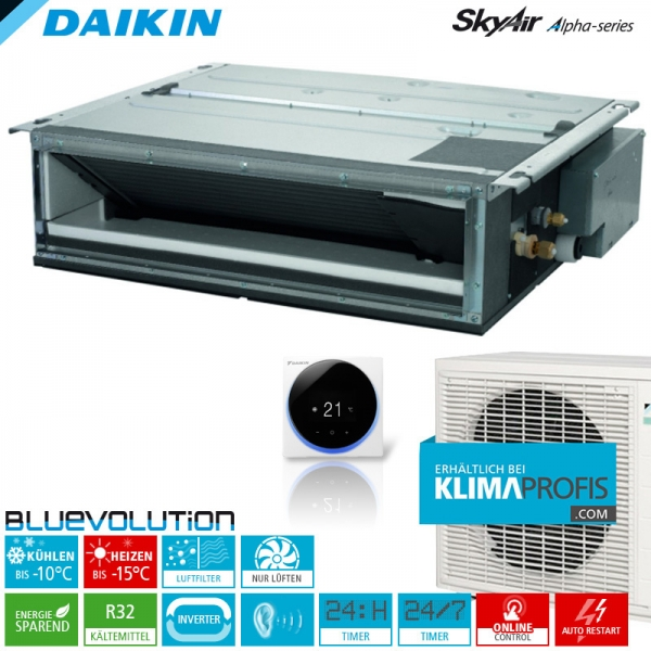 Daikin FDXM25F9 R32 Inverter Kanalklimageräte-Set - 2,4 kW