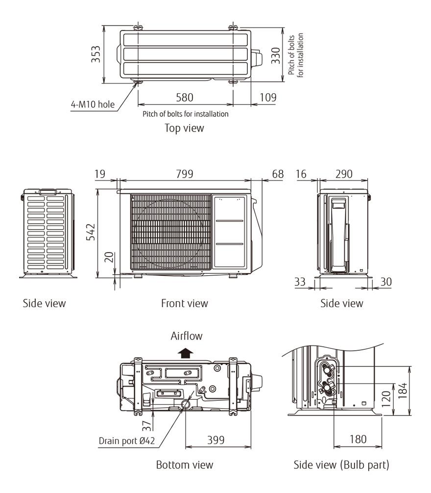 Fujitsu AOYG14KBTA2 Außeneinheit R32 Duo-Inverter - 4,6 kW