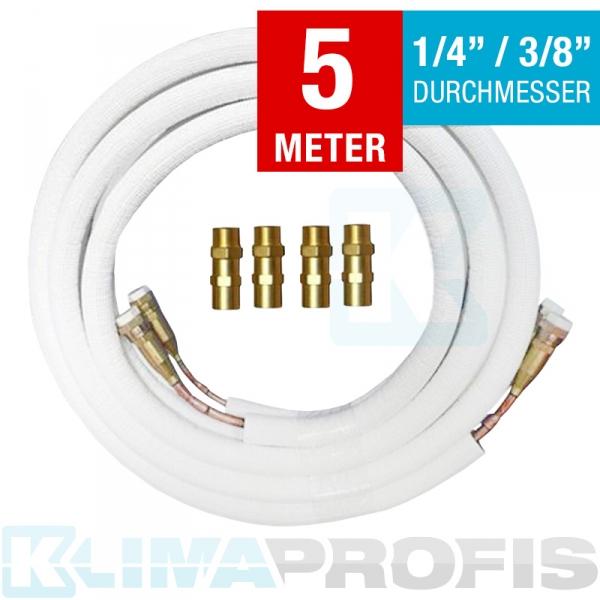 Kältemittelleitung mit Anschlussarmaturen, 6/10mm, 5 Meter