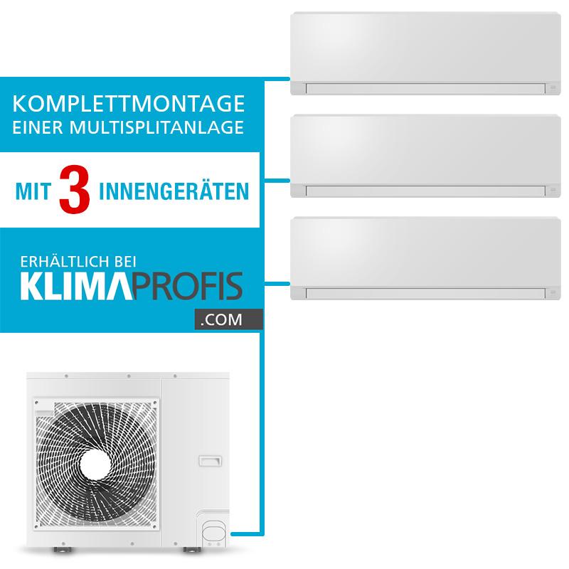 Komplettmontage einer multisplit klimaanlage mit 3 for Klimaanlage dachmontage
