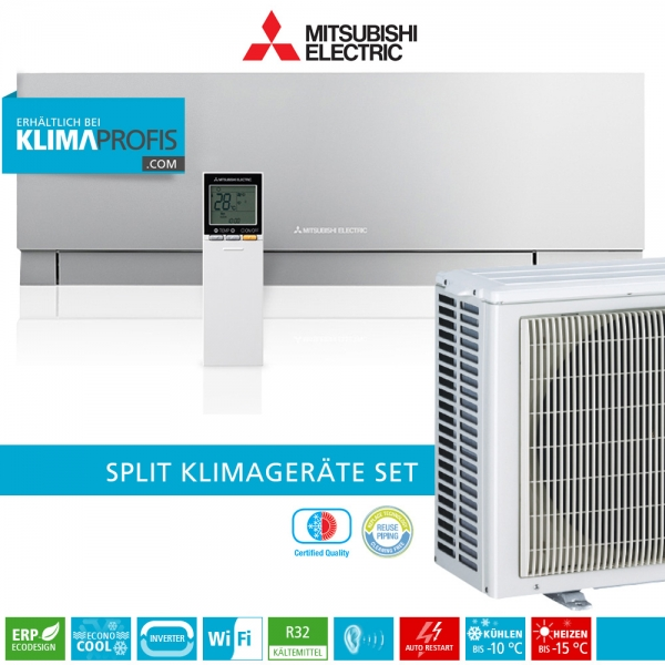 Mitsubishi Electric MSZ-EF25VGKS WiFi R32 Premium Wandklimageräte-Set - 3,4 kW